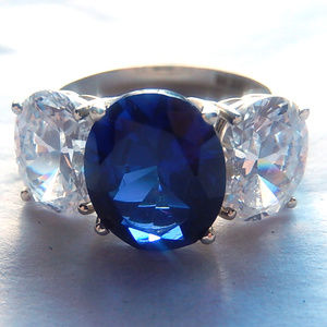 HUGE 14k Synthetic Sapphire and CZ Ring 7.5